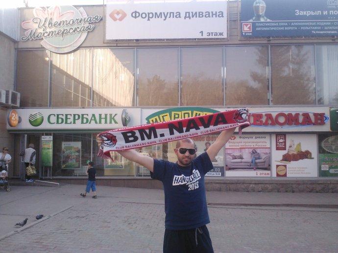 Celebrando la victoria por las calles de Novosibirsk (Rusia)